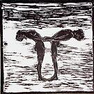 """Yoga Couple 1 - Woodcut by Belinda """"BillyLee"""" NYE (Printmaker)"""