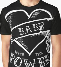 Babe with the Power White Outline Graphic T-Shirt