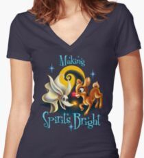 Making Spirits Bright Women's Fitted V-Neck T-Shirt