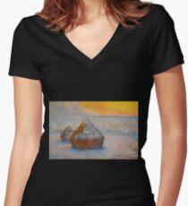Claude Monet - Grainstacks At Sunset, Snow Effect, 1891 Women's Fitted V-Neck T-Shirt