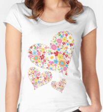 Whimsical Spring Flowers Valentine Hearts Trio Women's Fitted Scoop T-Shirt