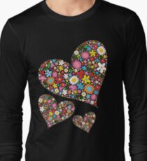 Whimsical Spring Flowers Valentine Hearts Trio Long Sleeve T-Shirt