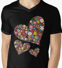 Whimsical Spring Flowers Valentine Hearts Trio Men's V-Neck T-Shirt