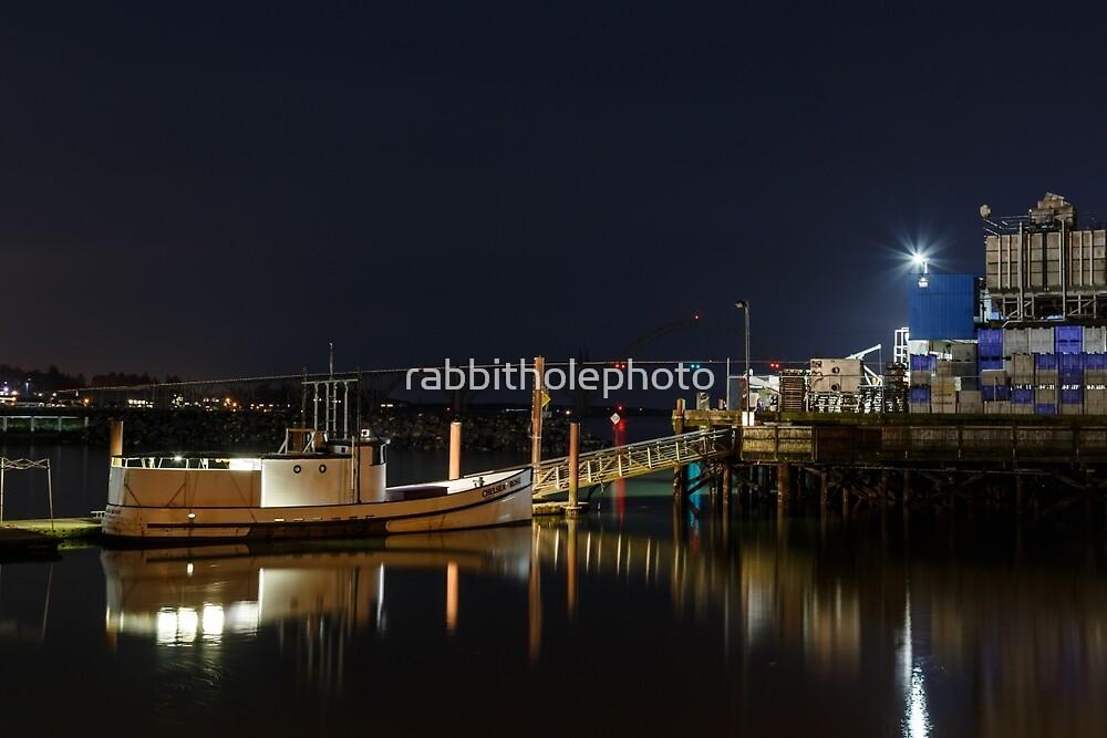 Port of Newport, Oregon at night by rabbitholephoto