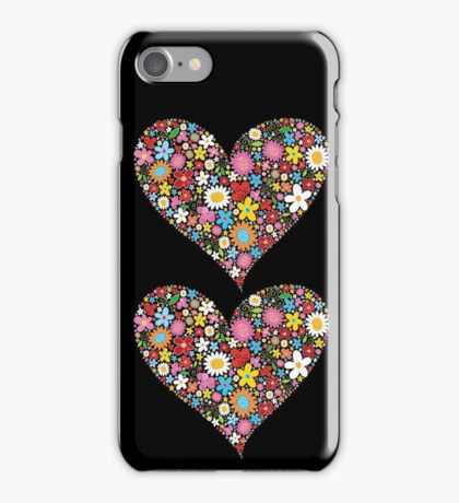 Whimsical Spring Flowers Red Valentine Heart iPhone Case/Skin