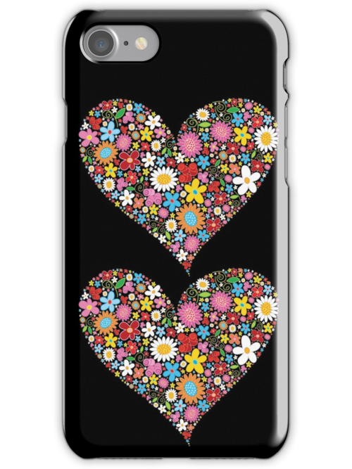 Whimsical Spring Flowers Red Valentine Heart by fatfatin
