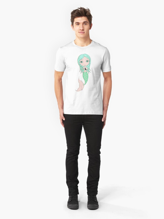 Alternate view of I Heart Mermaids - 3rd of 4 Slim Fit T-Shirt