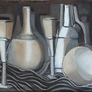 Glasses, Bottles and Bowl by Karen Gingell