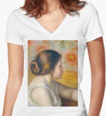 Auguste Renoir - Head Of A Young Woman, 1890 Women's Fitted V-Neck T-Shirt