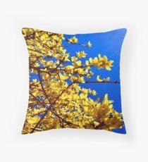 Yellow flowers blue sky Throw Pillow