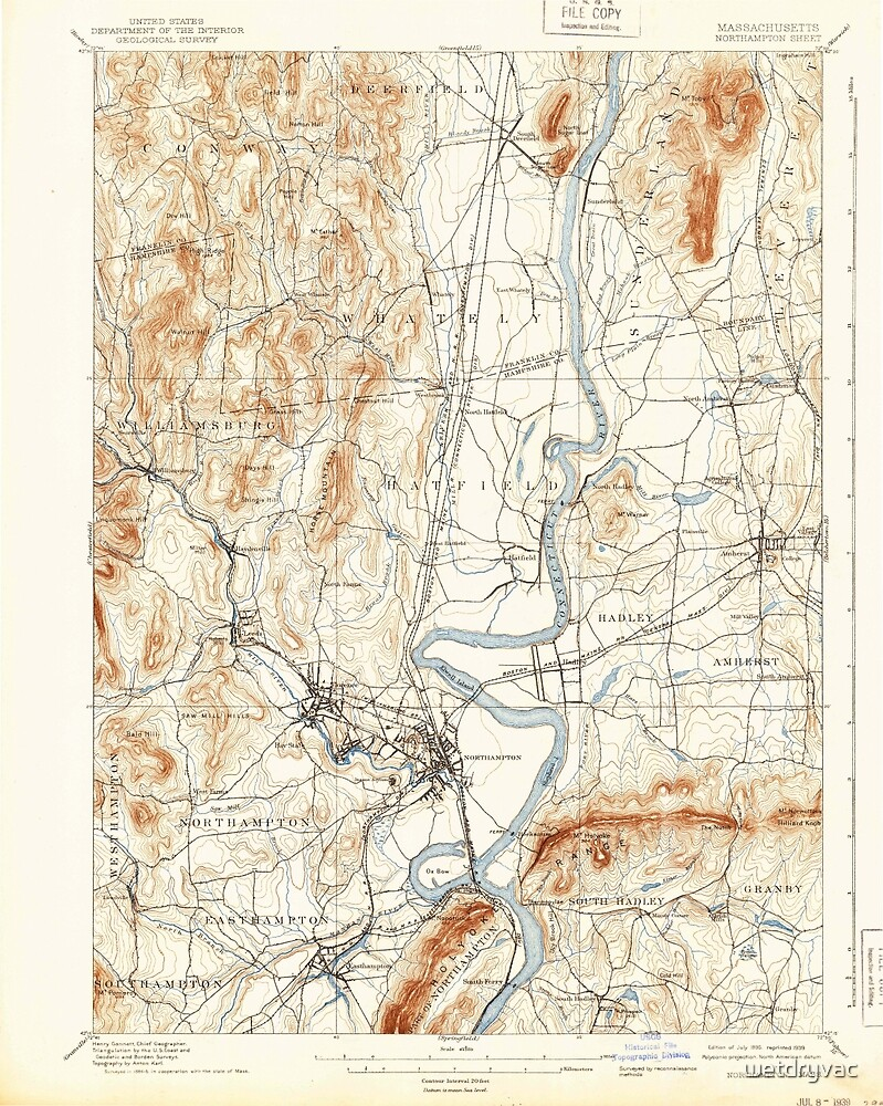 Massachusetts  USGS Historical Topo Map MA Northampton 352911 1895 62500 by wetdryvac