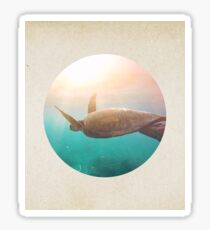 Graceful turtle - porthole paper design Sticker