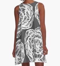 peony graphic, pion, floral, design, flower, illustration, pattern grey A-Line Dress
