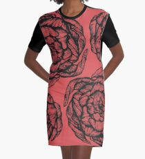 peony graphic, pion, floral, design, flower, illustration, pattern red Graphic T-Shirt Dress