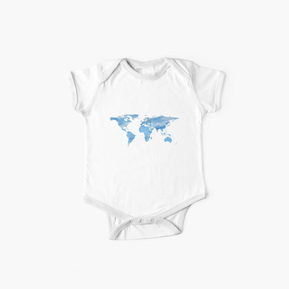 World Map | Blue Watercolour | Globetrotter Baby One-Piece