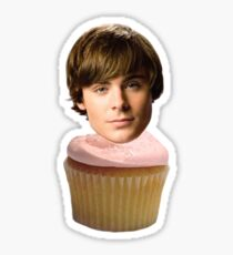 Zac Efron Cupcake Sticker