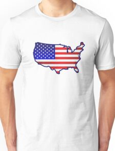 USA Map with US Flag overlay Unisex T-Shirt