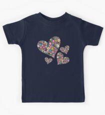 Whimsical Spring Flowers Pink Valentine Hearts Quartet Kids Tee