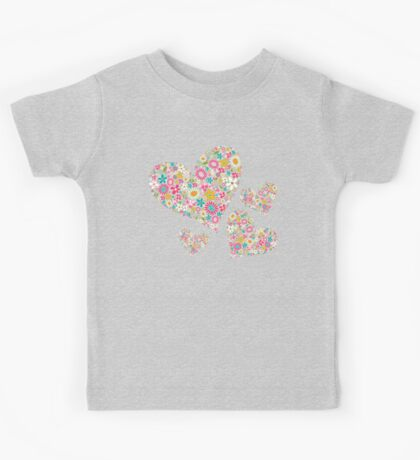 Whimsical Spring Flowers Pink Valentine Hearts Quartet Kids Clothes
