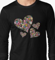 Whimsical Spring Flowers Pink Valentine Hearts Quartet T-Shirt
