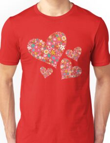 Whimsical Spring Flowers Pink Valentine Hearts Unisex T-Shirt