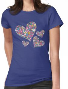 Whimsical Spring Flowers Pink Valentine Hearts Womens Fitted T-Shirt