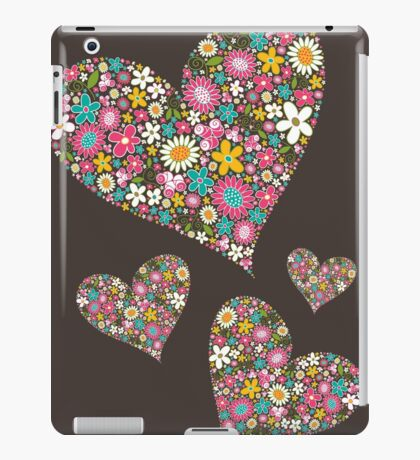 Whimsical Spring Flowers Pink Valentine Hearts iPad Case/Skin