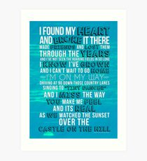 Ed Sheeran - Castle on the Hill Lyric Poster/Print/Journal Art Print