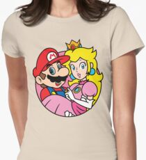 Mario Bross And Queen Peach Womens Fitted T-Shirt
