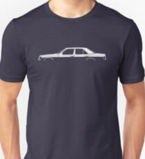 Car silhouette for Mercedes W124 E-Class sedan enthusiasts Unisex T-Shirt