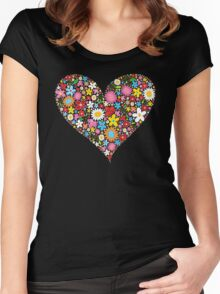 Whimsical Spring Flowers Red Valentine Heart Women's Fitted Scoop T-Shirt