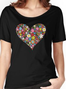 Whimsical Spring Flowers Red Valentine Heart Women's Relaxed Fit T-Shirt