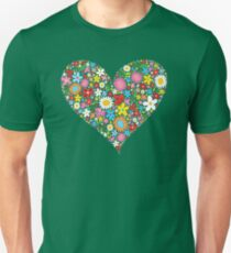 Whimsical Spring Flowers Red Valentine Heart Unisex T-Shirt