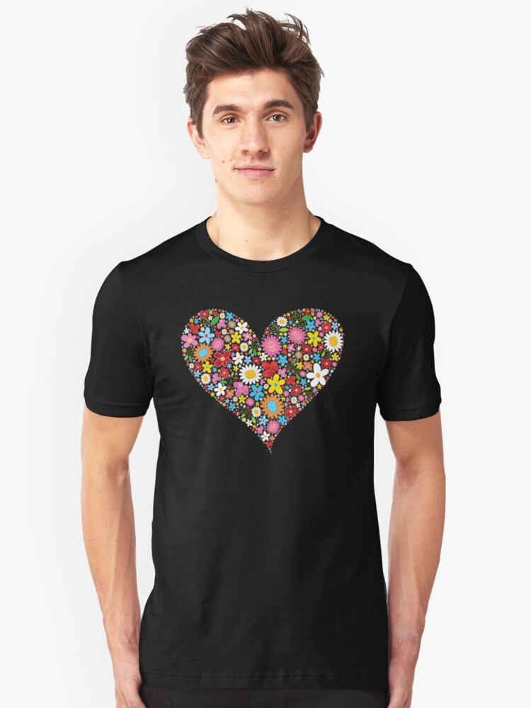 Whimsical Spring Flowers Red Valentine Heart Unisex T-Shirt Front