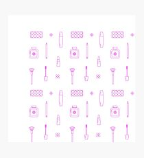 Pink Makeup Line Icon Pattern Photographic Print