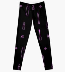 Pink Makeup Line Icon Pattern Black Leggings