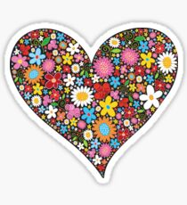 Whimsical Spring Flowers Red Valentine Heart Sticker