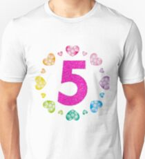 5th Birthday T-Shirt For Girls Shiny Hearts Princess Five Unisex T-Shirt