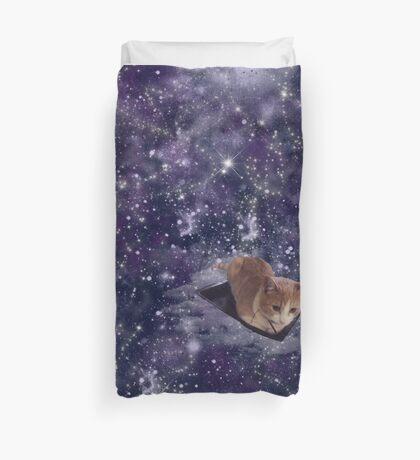 Cat In Space Galaxy Design Duvet Cover