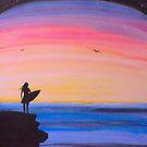 Sunset Surfer Girl by MarleyArt123