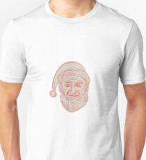 Melancholy Santa Claus Head Drawing Unisex T-Shirt