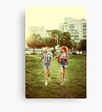 Young happy beautiful best friends girls Canvas Print