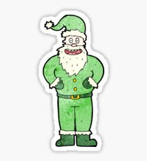 cartoon santa claus in green Sticker