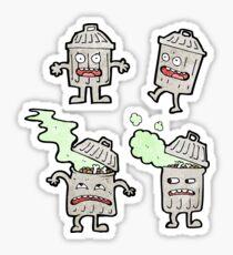 cartoon garbage can cartoon characters Sticker