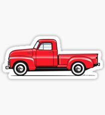 47-54 Chevy 3 window truck red Sticker