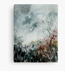 snowy landscape watercolor Metal Print
