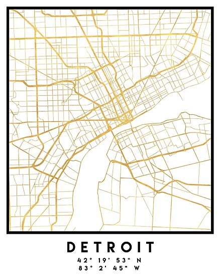 DETROIT MICHIGAN CITY STREET MAP ART \