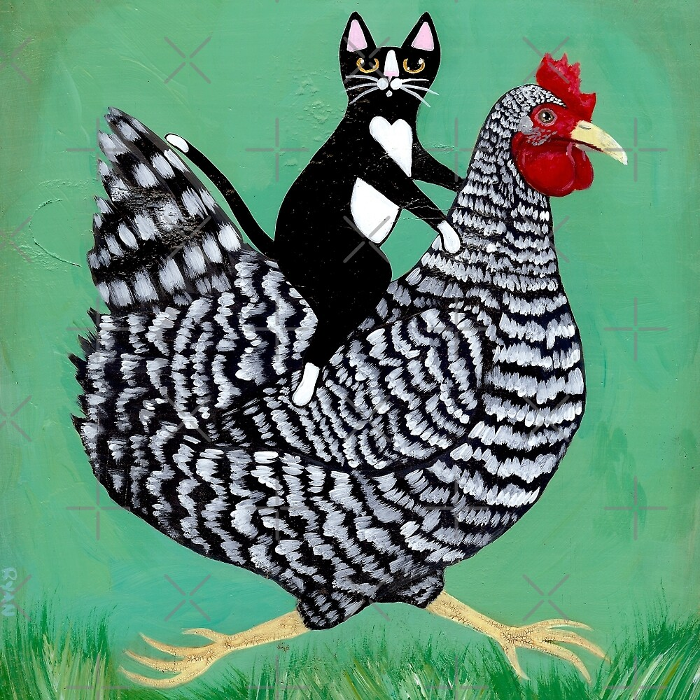 Quot Cat Riding A Chicken Quot By Ryan Conners Redbubble