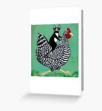 Cat Riding a Chicken Greeting Card