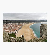 Winter Beach - Nazare Portugal from the Clifftop Photographic Print